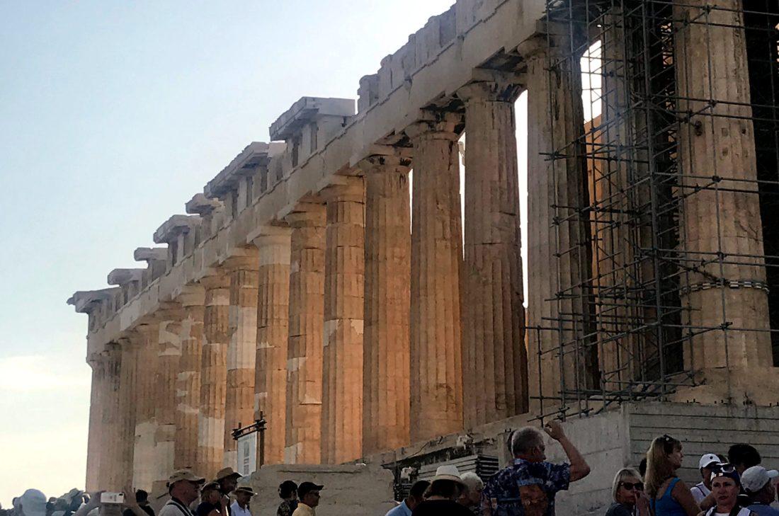 morning light on columns